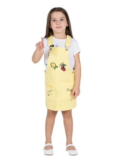 Silversun Kids Kız Çocuk Cepli Nakışlı Askılı Dokuma Elbise Ek 215534 Sarı